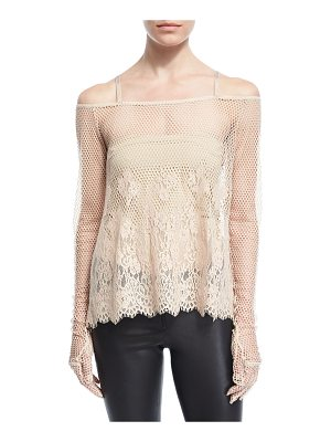 FENTY PUMA BY RIHANNA B-Ball Mesh Lace Long-Sleeve Top