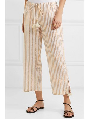 Figue goa cropped striped cotton and lurex-blend pants
