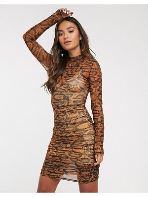 Finders Keepers bel air bodycon mini dress in snake-beige