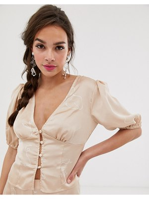 Finders Keepers cristina button down blouse in sketch print-beige