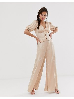 Finders Keepers cristina wide leg pant in sketch print-beige