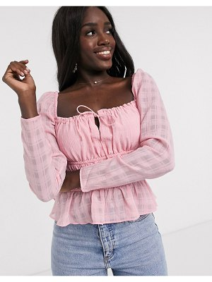 Finders Keepers lucietti shirred top in blush-pink