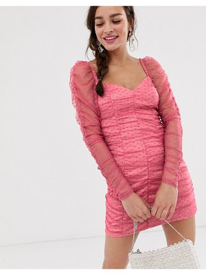Finders Keepers palermo long sleeve ruched mini dress in spot mesh-pink