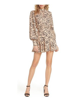Finders Keepers romy tiger print long sleeve minidress