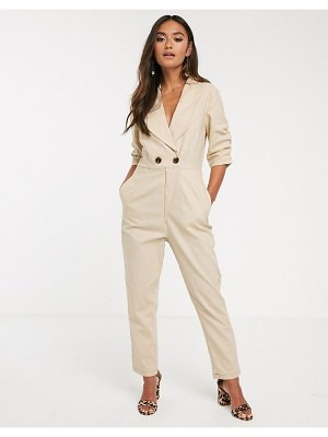 Finders Keepers venice button detail boilersuit-beige