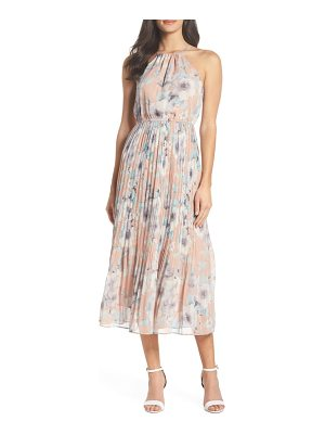 FIRST MONDAY pleated floral halter dress