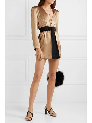 Fleur du Mal belted silk-satin mini dress