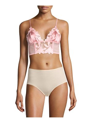Fleur du Mal lily embroidered long lined triangle bra