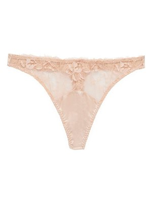 Fleur Of England signature lace-trimmed silk-blend thong
