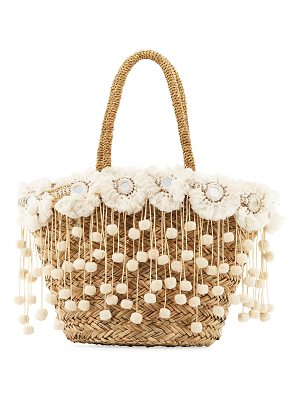 FLORABELLA Kailua Straw Beach Tote Bag With Fringe & Pompom Trim