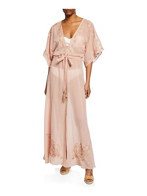 florabella Montego Belted Maxi Coverup Caftan with Embroidery