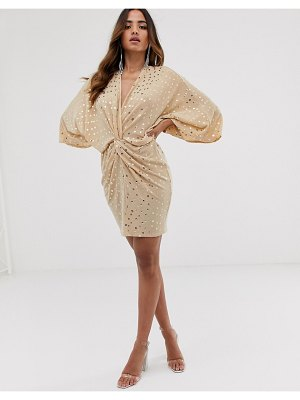 Flounce London glitter twist front mini dress in soft pink sequin