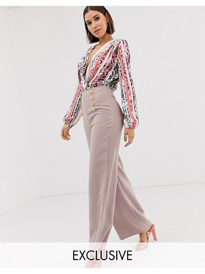 Flounce London highwaist palazzo pants in mauve