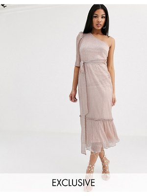 Flounce London metallic one shoulder midi dress