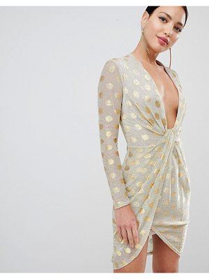 Flounce London metallic spot plunge front midi dress