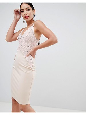 Flounce London sequin lace cami bodycon dress in pink