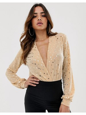Flounce London thong bodysuit with plunge in glitter