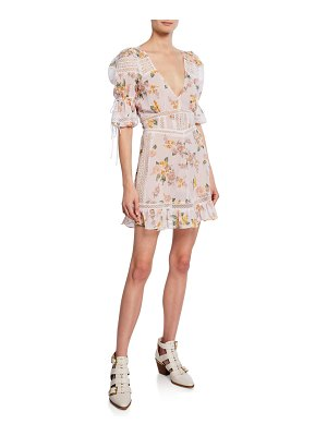 For Love & Lemons Isadora Floral Mini Puff-Sleeve Dress