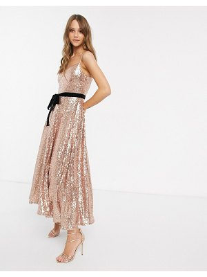 Forever U cami strap sequin dress with bow detail in rose gold-pink