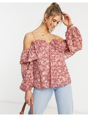 Forever U cold shoulder top in textured dusty pink