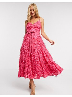 Forever U midi dress with fringe 3d fabrication in hot pink