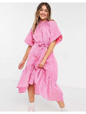 Forever U midi dress with tie detail in pink jacquard