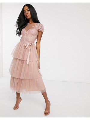 Forever U tiered lace midi dress with waist bow detail in blush pink