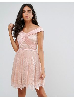 FOREVER UNIQUE Bardot Cross Over Mini Lace Skater Dress