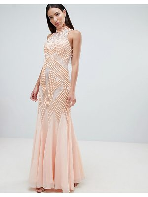 Forever Unique Lace Detail Halter Fishtail Maxi Dress