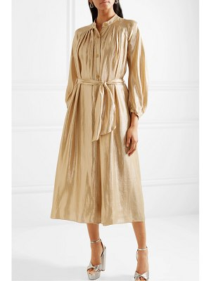 Forte Forte belted gathered silk-blend lurex midi dress