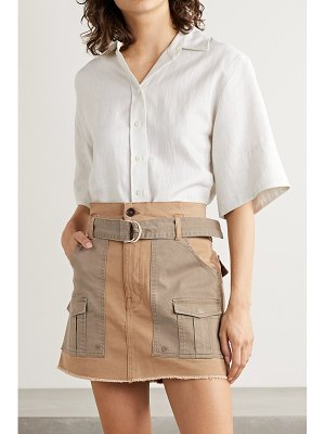 Frame belted frayed two-tone stretch-cotton twill mini skirt