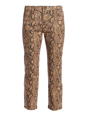 Frame le high straight python print coated jeans