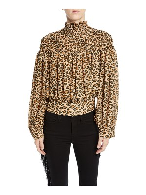 Frame Smocked Cheetah-Print Long-Sleeve Blouse