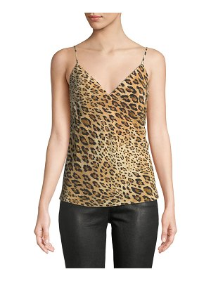Frame V-Neck Cheetah-Print Silk Cami Top