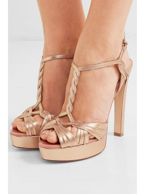 FRANCESCO RUSSO metallic leather platform sandals