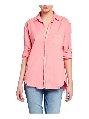 Frank & Eileen Button-Down Long-Sleeve Frayed-Hem Cotton Shirt