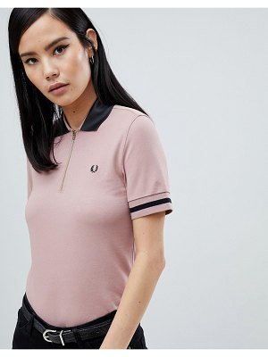 Fred Perry vinyl collar pink polo shirt