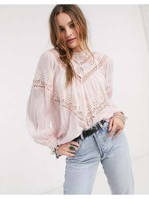 Free People abigail victorian broderie blouse-pink