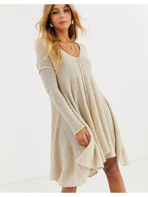 Free People dancing in the forest knitted mini dress-beige