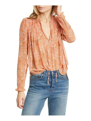 Free People lela floral smocked ruffle blouse