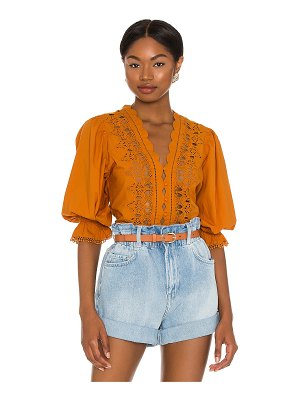 Free People louella embroidered top