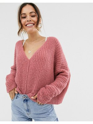 Free People moonbeam v neck lofty sweater-pink