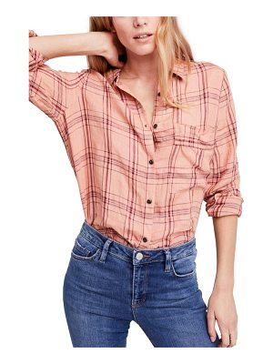 FREE PEOPLE No Limits Plaid Linen Shirt