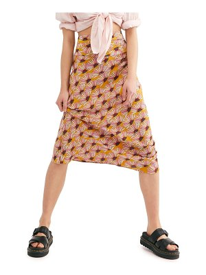 Free People normani print bias cut midi skirt
