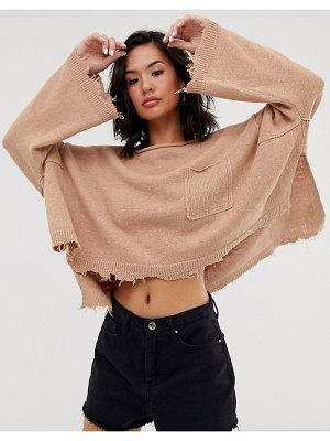 Free People prism solid lighweight knitted sweater-pink