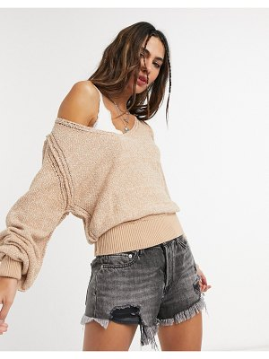Free People ripe tide v neck sweater-beige