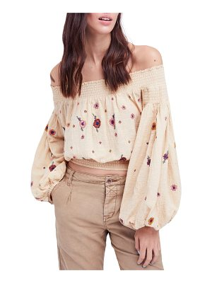 FREE PEOPLE Saachi Smocked Off The Shoulder Top