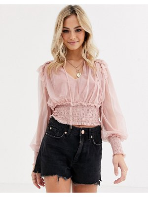 Free People sheer twyla top-pink