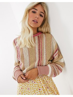Free People show me love stripe fine knit sweater-beige