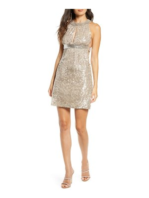 French Connection aello sequin halter neck dress